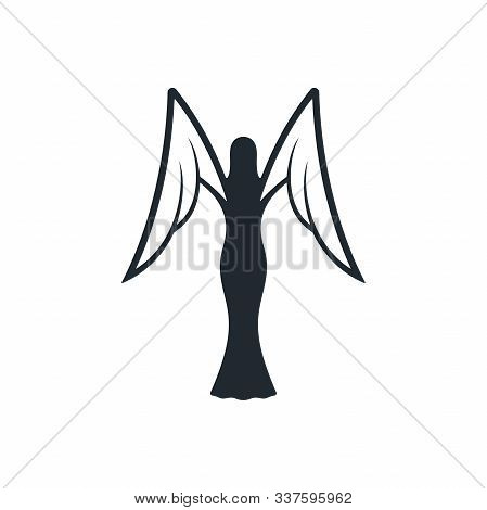Black angel and outline wings on white background. Abstract angel and white wings icon. stock photo