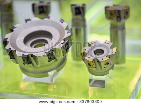 Industrial part carbide cutter for CNC milling machine stock photo