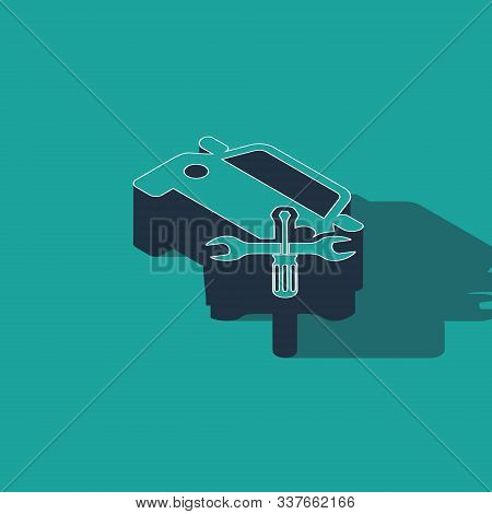 Isometric Car with screwdriver and wrench icon isolated on green background. Adjusting, service, setting, maintenance, repair, fixing. Vector Illustration stock photo