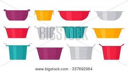Basin. Vector. Plastic, metal washbowls. Bowl icons in flat design, isolated on white background. Cartoon colorful illustration. Set of containers. stock photo