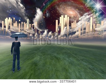 Man with umbrella before Heavenly city. 3D rendering stock photo