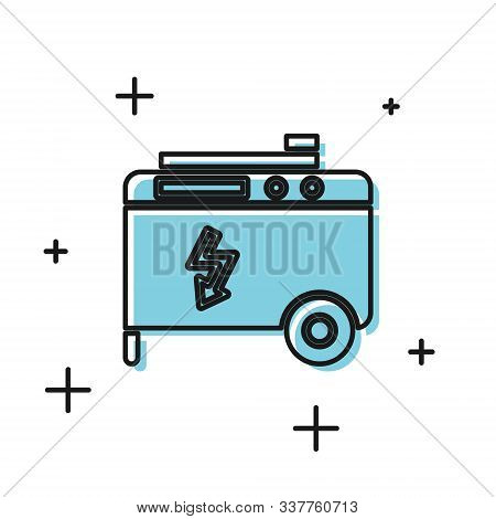 Black Portable power electric generator icon isolated on white background. Industrial and home immovable power generator. Vector Illustration stock photo