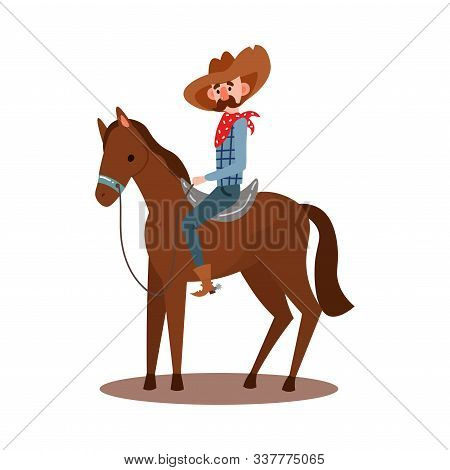 American cowboy riding a horse wearing a red bandana, hat, boots. Vector illustration in flat cartoon style stock photo