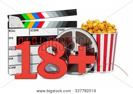 18+ film rating system concept. 3D rendering isolated on white background stock photo