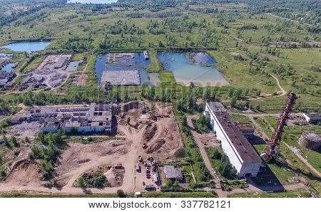 The building and infrastructure of an old abandoned thermal power plant. view from above. stock photo