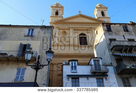 View of St Jean Baptiste cathedral in old port of Bastia , second largest corsican city and main entry point to the island stock photo