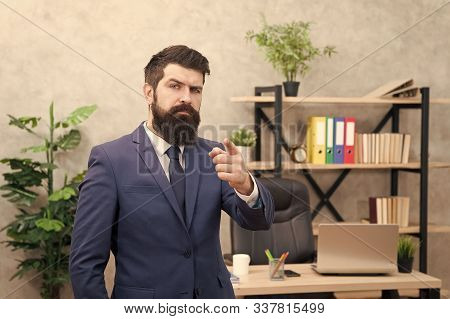 Business man formal suit successful guy. Run a company. Human resources. Job interview. Recruiter professional occupation. Man bearded top manager boss in office. Business career. Start own business. stock photo