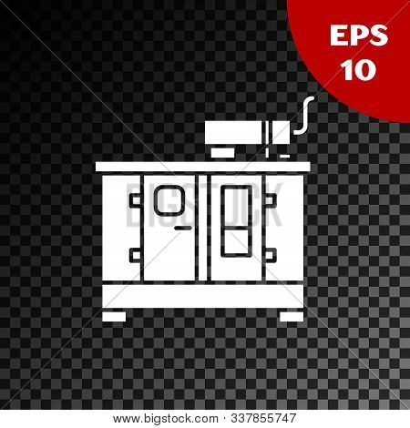 White Diesel power generator icon isolated on transparent dark background. Industrial and home immovable power generator. Vector Illustration stock photo
