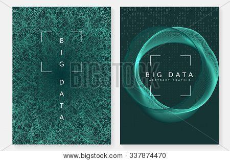 Artificial intelligence tech background. Digital technology, deep learning and big data concept. Abstract visual for server template. Fractal artificial intelligence tech backdrop. stock photo
