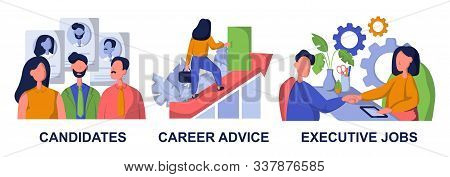 Recruitment and headhunting agency, employment service icons set. Employees hiring. Candidates, career advice, executive jobs metaphors. Flat vector isolated concept metaphor illustrations stock photo