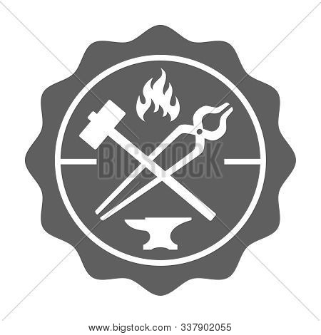 Blacksmith stamp in retro style. Logo. Forge design with forging tools including hammer, anvil, tongs and fire. Vector illustration stock photo