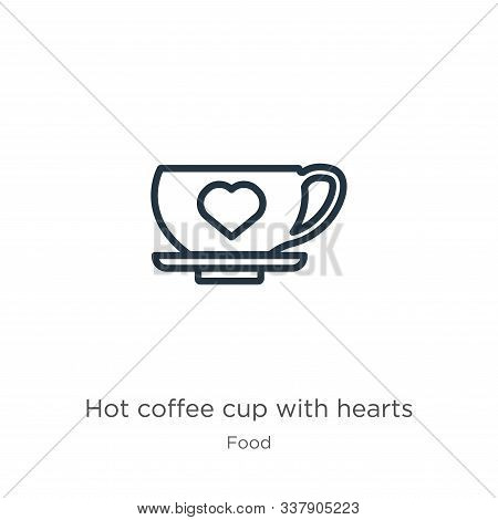 Hot coffee cup with hearts icon. Thin linear hot coffee cup with hearts outline icon isolated on white background from food collection. Line vector hot coffee cup with hearts sign, symbol for web and stock photo