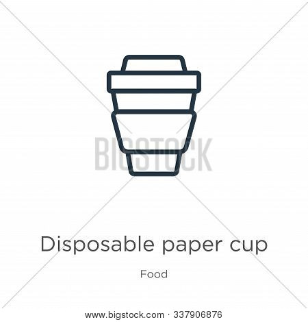 Disposable paper cup icon. Thin linear disposable paper cup outline icon isolated on white background from food collection. Line vector disposable paper cup sign, symbol for web and mobile stock photo