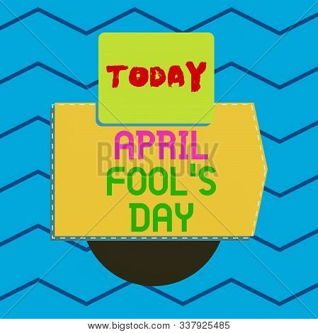 Writing note showing April Fool S Day. Business photo showcasing Practical jokes humor pranks Celebration funny foolish Electronic device with non symmetrical triangle for printing. stock photo