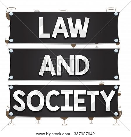 Text sign showing Law And Society. Conceptual photo Address the mutual relationship between law and society Wooden panel attached nail colorful background rectangle lumber plank wood. stock photo