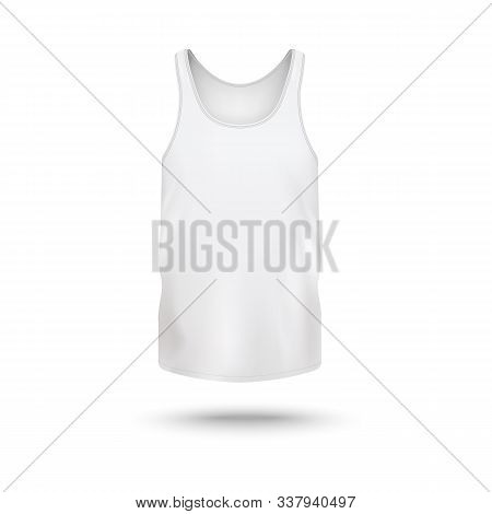 Women crew-neck t-shirt or active wear top template vector illustration isolated. stock photo