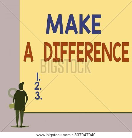 Text sign showing Make A Difference. Conceptual photo Mark an effect on a demonstrating or situation Cause a change Back view young woman watching blank big rectangle. Geometrical background. stock photo