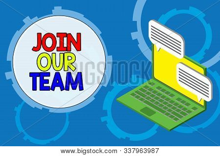 Conceptual hand writing showing Join Our Team. Business photo text Allied Associate Work with us New Employee Hired Enlist Laptop receiving sending information internet wireless. stock photo