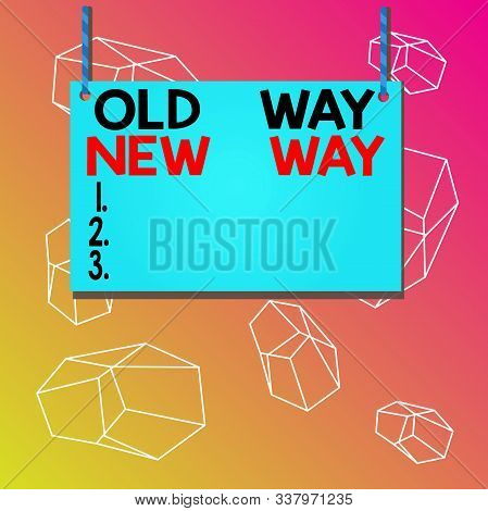 Word writing text Old Way New Way. Business concept for The different way to fulfill the desired purposes Wooden board wood rectangle shape empty frame fixed colorful striped string. stock photo