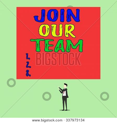 Word writing text Join Our Team. Business concept for Allied Associate Work with us New Employee Hired Enlist Isolated view young man standing pointing upwards two hands big rectangle. stock photo