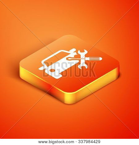 Isometric Car with screwdriver and wrench icon isolated on orange background. Adjusting, service, setting, maintenance, repair, fixing. Vector Illustration stock photo