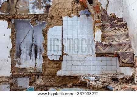 Ruins of old houses of Tetouan Medina quarter in Northern Morocco. A medina is typically walled, with many narrow and maze-like streets and often contain historical houses, palaces, places. stock photo