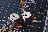 Dices Cubes To Trader. Blocks With The Words Sell Buy. Particular Focus