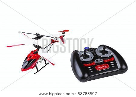 radio-controlled model of the helicopter with the control panel isolated on white background stock photo