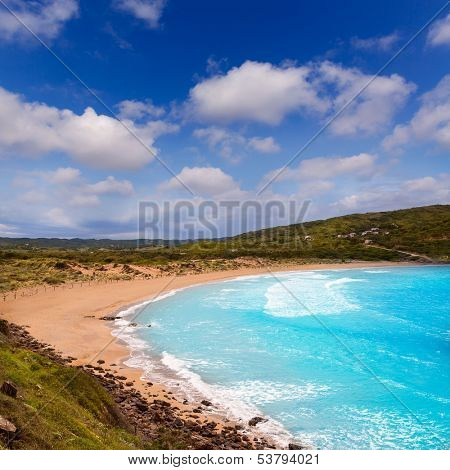 Fornells in Menorca Cala Tirant beach at Balearic Islands of Spain stock photo