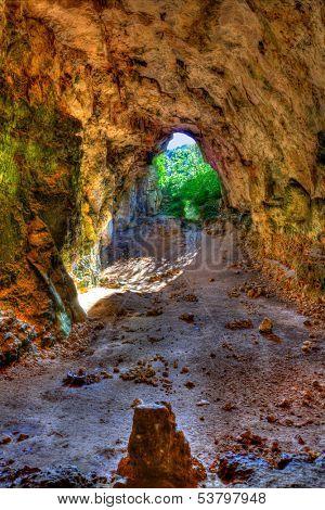 Menorca Cova dels Coloms Pigeons cave in es Mitjorn at Balearic island stock photo