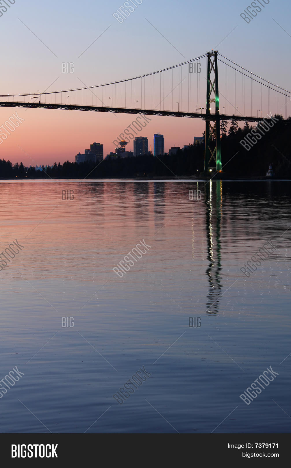 architecture,blue,bridge,british,burrard,calm,canada,city,cityscape,columbia,dawn,gate,inlet,lion's,morning,panorama,park,reflection,scenic,skyline,span,stanley,sunrise,suspension,tower,tranquil,transportation,travel,twilight,urban,vancouver,water