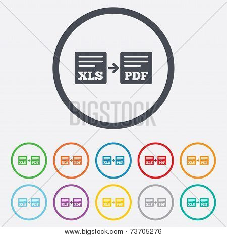 Export XLS to PDF icon. File document symbol. Round circle buttons with frame. Vector stock photo