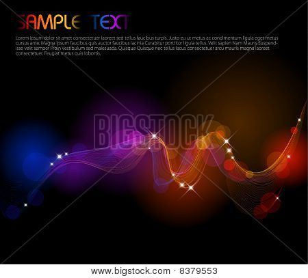 Abstract background with colorful lights on black stock photo