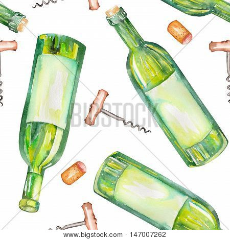 A seamless pattern with the wine watercolor hand-drawn elements: wine bottles, wine corks and a corkscrew. Painted on a white background. stock photo