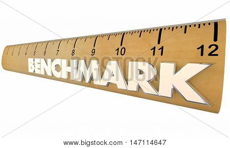 Benchmark Measure Compare Results Ruler 3d Illustration stock photo
