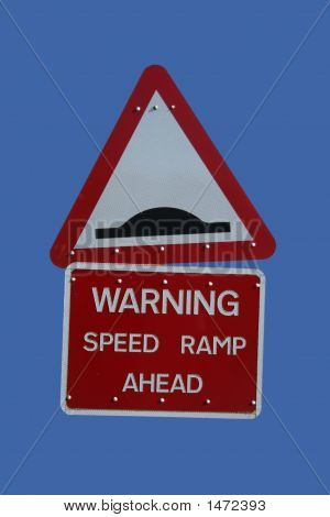 warning speed hump sign with text and symbol stock photo