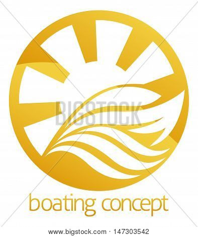 An abstract illustration of a motor speed boat or yacht circle concept design stock photo