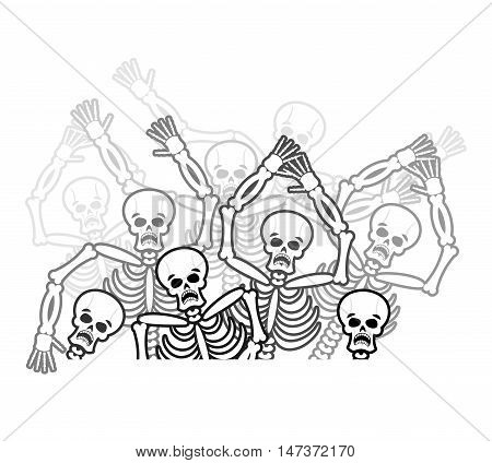 Sinners in hell. restless soul. Dead in underworld. Skeletons screaming for help. Price paid for sins. Hells torments. Religious illustration. stock photo