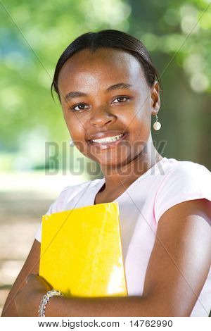 portrait of a young female african american student stock photo