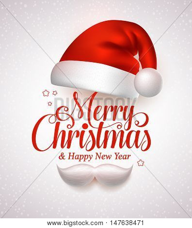 Merry christmas title typography vector concept in red with christmas hat and santa white beard in a white snow background. Vector illustration
