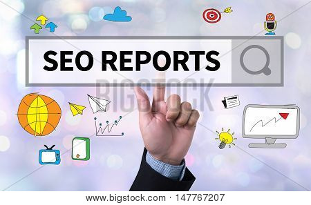 SEO REPORTS man pushing (touching) virtual web browser address bar or search bar on blurred abstract background stock photo