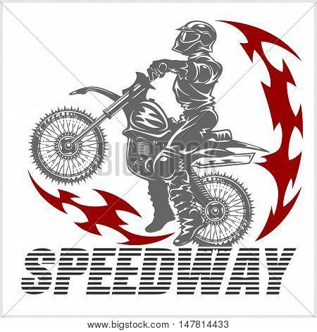 Motocross rider on a motorcycle - Vector Illustration stock photo