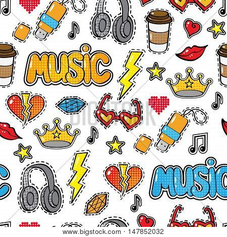 Seamless pattern with fashion patch badges, stickers in comic style. crown, headphones, coffee, heart, word Music, lips, cloud, others isolated on white background. Art vector illustration stock photo
