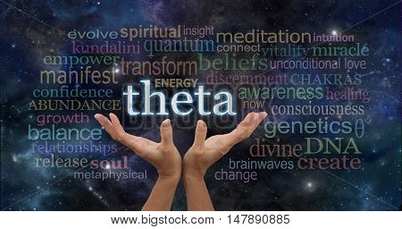 Theta Brainwaves Meditation Word Cloud - female hands reaching up to the word THETA surrounded by relevant words on a dark blue night sky space background with stars and planets stock photo