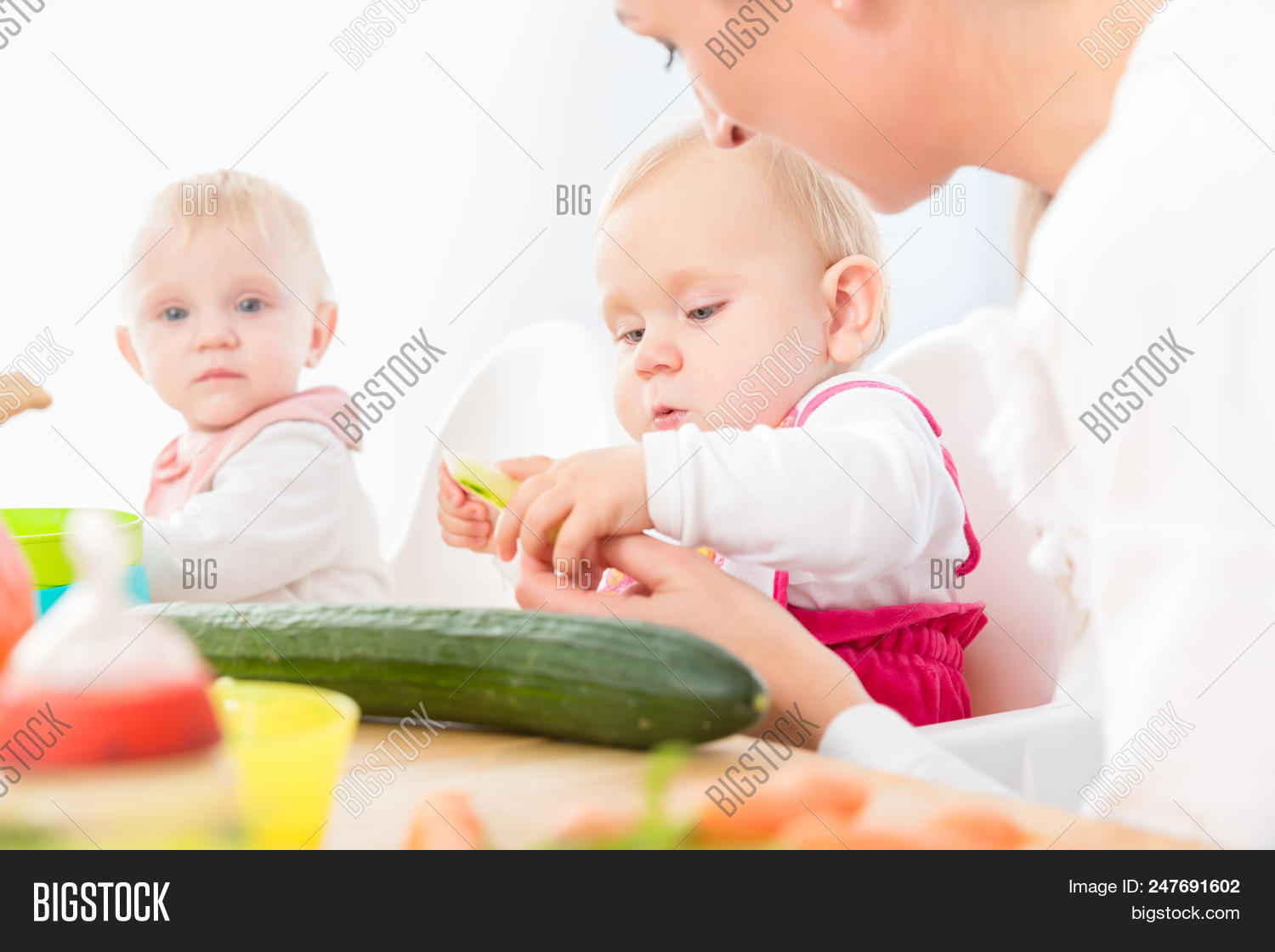 6 month,6 month old,adult,apple,assistant,babies,baby,beginning,blue eyes,bottle,care,caregiver,caucasian,chair,child,contemporary,copy space,cute,daycare,eating,female,food,fruits,girl,girls,healthy,high chair,indoors,infant,modern,mother,natural,nurse,nursery,nutrition,nutritious,organic,parent,pink,portrait,progress,reaching,sitting,six month,solid,supervised,taste,tasty,touching,woman