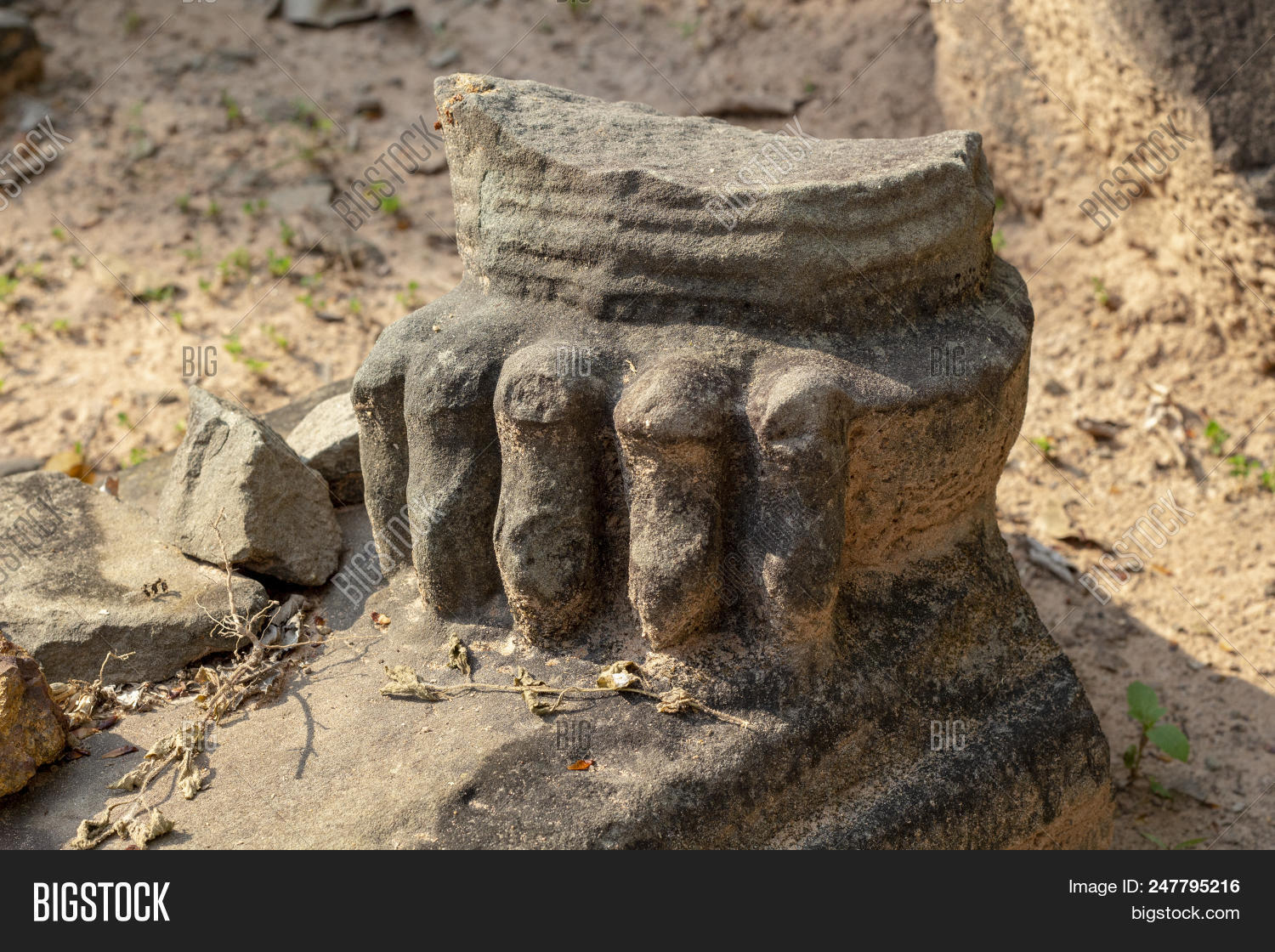 Ancient Stone Ruin In Angkor Wat Temple. Ruined Animal Statue Fragment Closeup. Khmer Heritage Templ