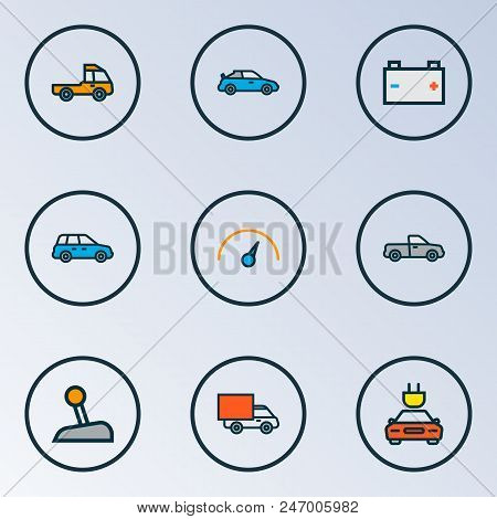 Auto icons colored line set with pickup, prime-mover, speedometer and other sedan  elements. Isolated  illustration auto icons. stock photo