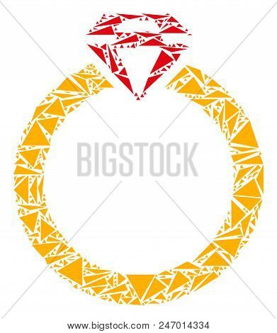 Ruby ring mosaic of triangle items in variable sizes and shapes. Vector polygons are organized into ruby ring mosaic. Geometric abstract vector illustration. stock photo