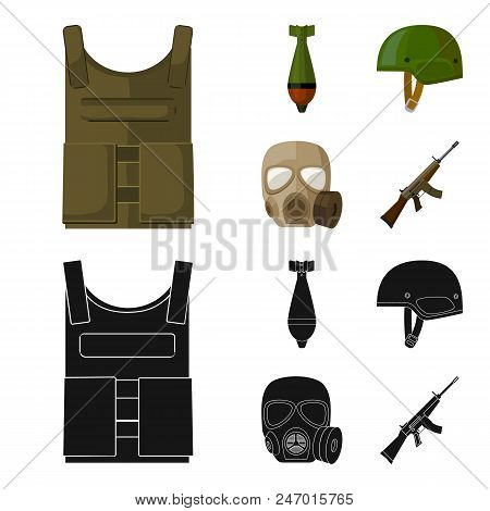 Bullet-proof vest, mine, helmet, gas mask. Military and army set collection icons in cartoon, black style vector symbol stock illustration . stock photo