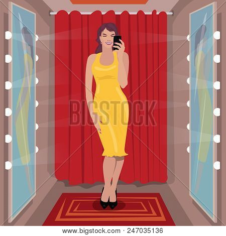 Young girl is measuring long yellow dress in clothing store. Fitting black shoes in shoe store. Selfie in fitting room. Shopping concept. Expressive cartoon style stock photo